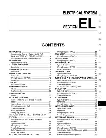 2002 nissan quest - electrical system (section el) (338 pages)