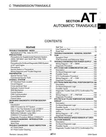 2004 Nissan Quest - Automatic Transmission (Section AT) - PDF Manual (700  Pages)