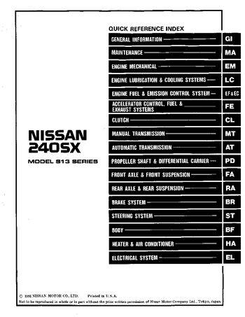 1992 nissan 240sx repair manual pdf 1014 pages rh carmanuals2 com 1994 Nissan 240SX 1993 Nissan 240SX