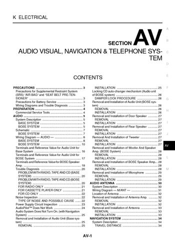 i2 2003 nissan 350z audio visual system (section av) pdf manual 2003 nissan 350z stereo wiring diagram at gsmx.co