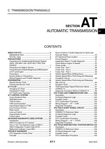 2004 Nissan 350Z - Automatic Transmission (Section AT) - PDF Manual on