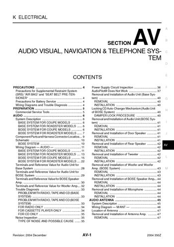 nissan z audio visual system section av pdf manual 2004 nissan 350z audio visual system section av 118 pages