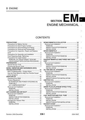 2004 Nissan 350Z - Engine Mechanical (Section EM) - PDF