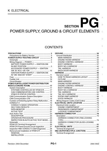 2004 Nissan 350Z - Power Supply, Ground & Circuit Elements (Section PG) -  PDF Manual (88 Pages)Car Manuals
