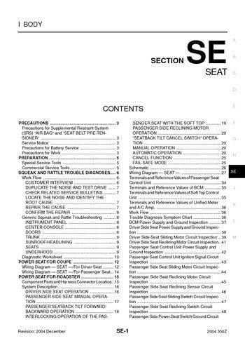 nissan 350z wiring diagram pdf nissan auto wiring diagram database 2004 nissan 350z seat section se pdf manual 78 pages on nissan 350z wiring diagram pdf