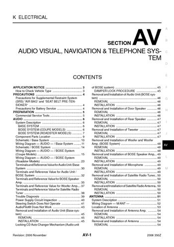 i2 2006 nissan 350z audio visual system (section av) pdf manual 2006 nissan 350z radio wiring diagram at gsmx.co