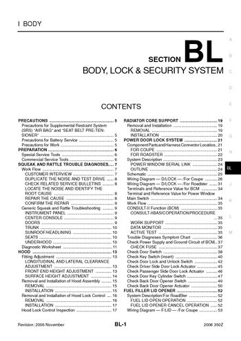 2006 nissan 350z - body, lock & security system (section bl) - pdf manual  (270 pages)  car manuals