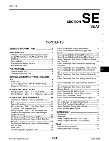 nissan z seat section se pdf manual pages 2008 nissan 350z seat section se 72 pages