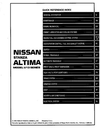 1993 Nissan Altima Repair Manual Pdf 1088 Pages Rh Carmanuals2 Com 1993 Nissan  Altima Owners Manual 1994 Nissan Altima
