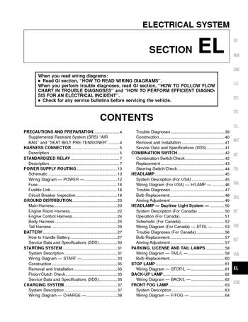 2000 nissan altima electrical system section el pdf manual 2000 nissan altima electrical system section el 304 pages