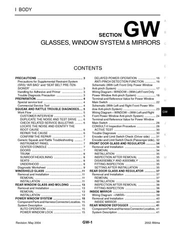 2002 nissan altima glasses window system mirrors section gw 2002 nissan altima glasses window system mirrors section gw 62 pages