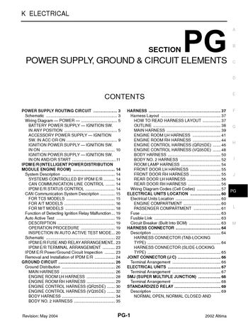 2002 Nissan Altima Power Supply Ground Circuit Elements Section Pg Pdf Manual 72 Pages