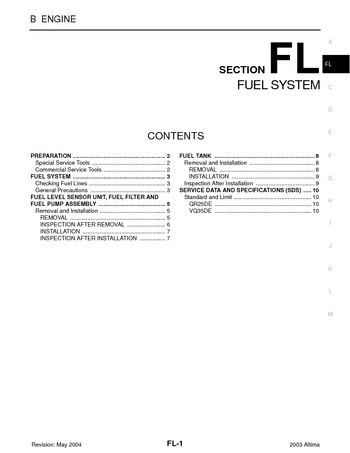 2003 nissan altima fuel system (section fl) pdf manual (10 pages)2003 nissan altima fuel system (section fl) (10 pages)