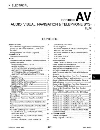2005 Nissan Altima Audio Visual System Section Av Pdf Manual 158 Pages