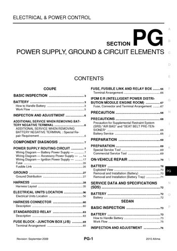 2010 Nissan Altima - Power Supply, Ground & Circuit Elements (Section PG) -  PDF Manual (145 Pages)Car Manuals