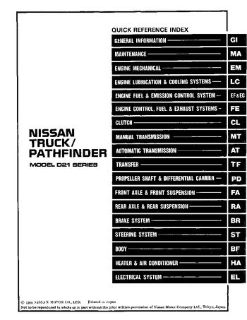 1989 nissan d21 repair manual pdf 1370 pages rh carmanuals2 com Datsun 720 Pickup Datsun D21 Automatic