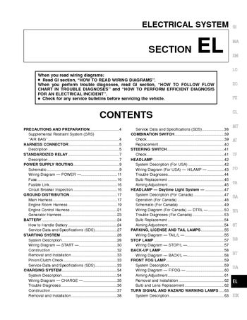 2000 nissan frontier - electrical system (section el) - pdf manual (232  pages)  car manuals