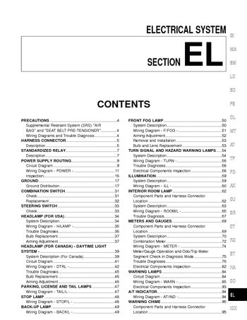 2001 nissan frontier - electrical system (section el) - pdf manual (268  pages)  car manuals