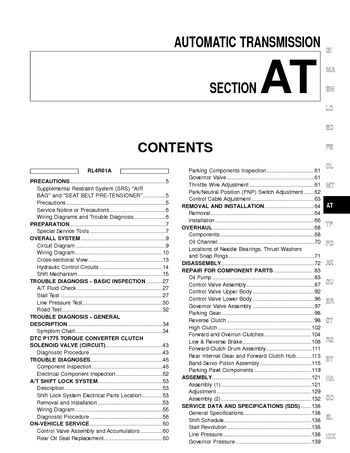 2002 Nissan Frontier Automatic Transmission Section At Pdf Manual 500 Pages