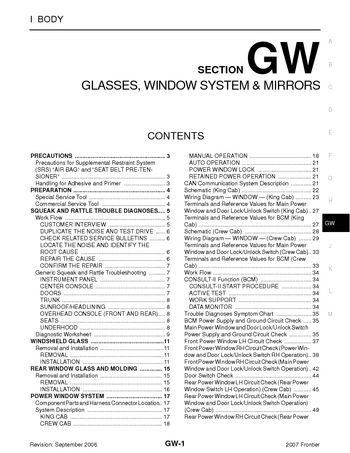 2007 nissan frontier glasses window system mirrors section 2007 nissan frontier glasses window system mirrors section gw 92 pages