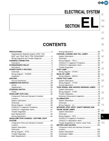 2000 nissan maxima - electrical system (section el) (366 pages)