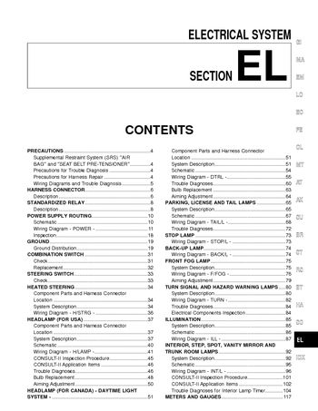 2002 Nissan Maxima Electrical System El Pdf Manual 480 Pages