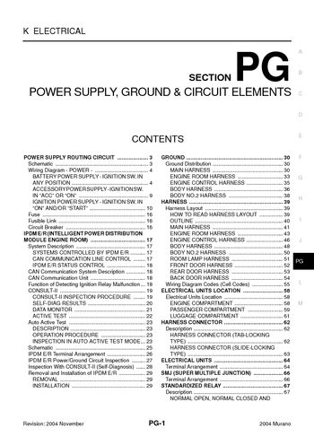 2004 nissan murano power supply, ground & circuit elements elect diagram for nissan titan 2004 nissan murano power supply, ground & circuit elements (section pg) (70 pages)