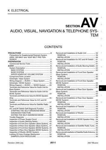 2007 nissan murano audio visual system section av pdf manual rh carmanuals2 com 2003 nissan murano radio wiring diagram 2007 nissan murano radio wiring diagram