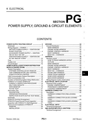 2007 nissan murano - power supply, ground & circuit elements (section pg)  (72 pages)