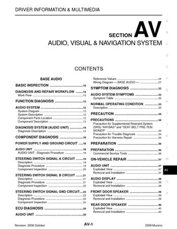 2009 nissan murano  audio visual system section av  pdf