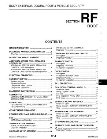 2009 Nissan Murano Roof Section Rf Pdf Manual 111 Pages