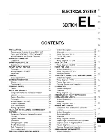 2001 Nissan Pathfinder Electrical System Section El Pdf Manual 394 Pages