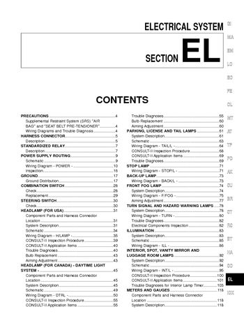 i2 2002 nissan pathfinder electrical system (section el) pdf 2002 nissan pathfinder wiring diagram at soozxer.org