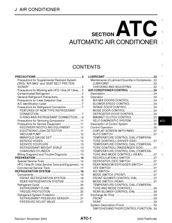 2005 Nissan Pathfinder Automatic Air Conditioner Section Atc Pdf Manual 174 Pages