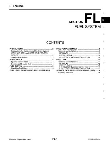 2006 nissan pathfinder - fuel system (section fl) (16 pages)