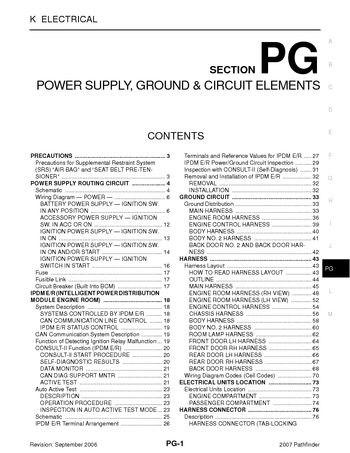 2007 nissan pathfinder power supply ground circuit elements 2007 nissan pathfinder power supply ground circuit elements section pg 88 pages