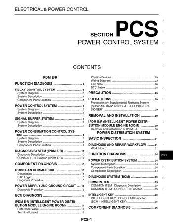 2008 Nissan Pathfinder - Power Control System (Section PCS) - PDF