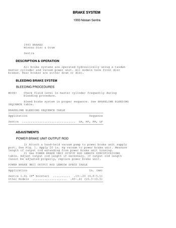 1993 Nissan Sentra - BRAKE SYSTEM (BR) - PDF Manual (11 Pages)
