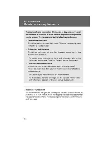 2008 Toyota Avalon Maintenance PDF Manual 6 Pages