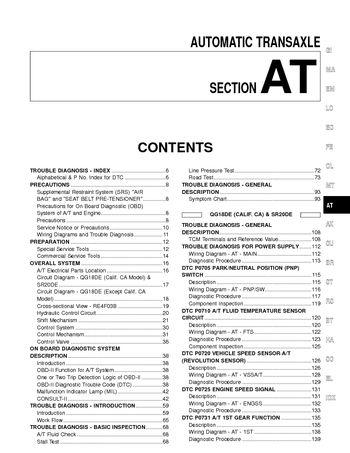 2000 Nissan Sentra - Automatic Transmission (Section AT) (550 pages)