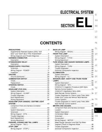 2000 Nissan Sentra - Electrical System (Section EL) - PDF Manual ...