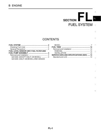 2002 nissan sentra - fuel system (section fl) (14 pages)