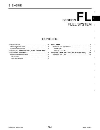 2005 Nissan Sentra - Fuel System (Section FL) - PDF Manual