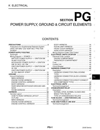 2006 nissan sentra - power supply, ground & circuit elements (section pg)  (54 pages)