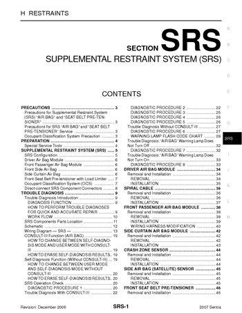 Download 2007 nissan sentra supplemental restraint system section