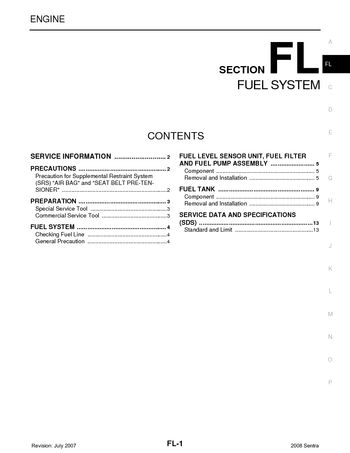 2008 Nissan Sentra - Fuel System (Section FL) - PDF Manual