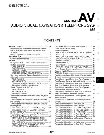 2005 Nissan Titan Audio Visual System Section Av Pdf Manual 176 Pages