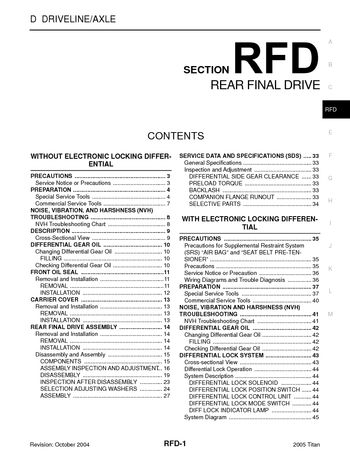 2005 nissan titan rear final drive  section rfd  pdf