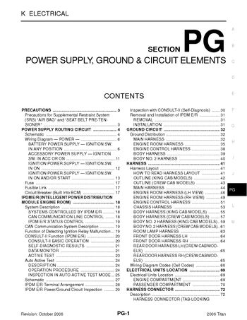 2006 Nissan Titan Power Supply Ground Circuit Elements Section Pg Pdf Manual 82 Pages