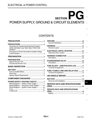 2008 nissan titan - power supply, ground & circuit elements (section pg)  (75 pages)